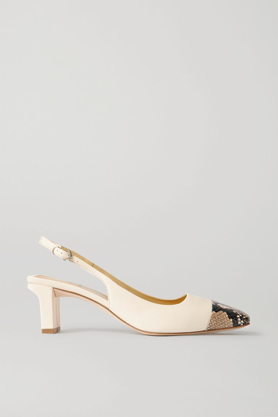 aeydē Drew snake-effect and smooth leather slingback pumps
