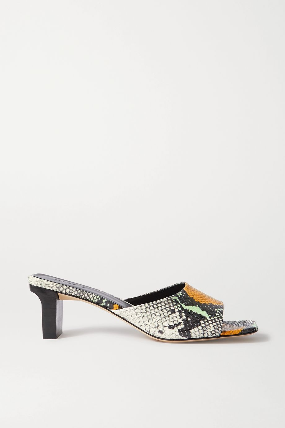 aeydē Katti snake-effect leather mules