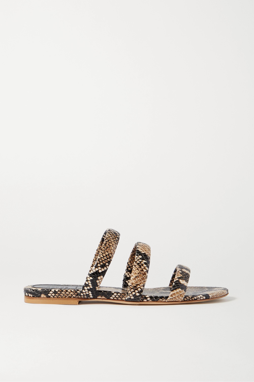 aeydē Chrissy snake-effect leather slides