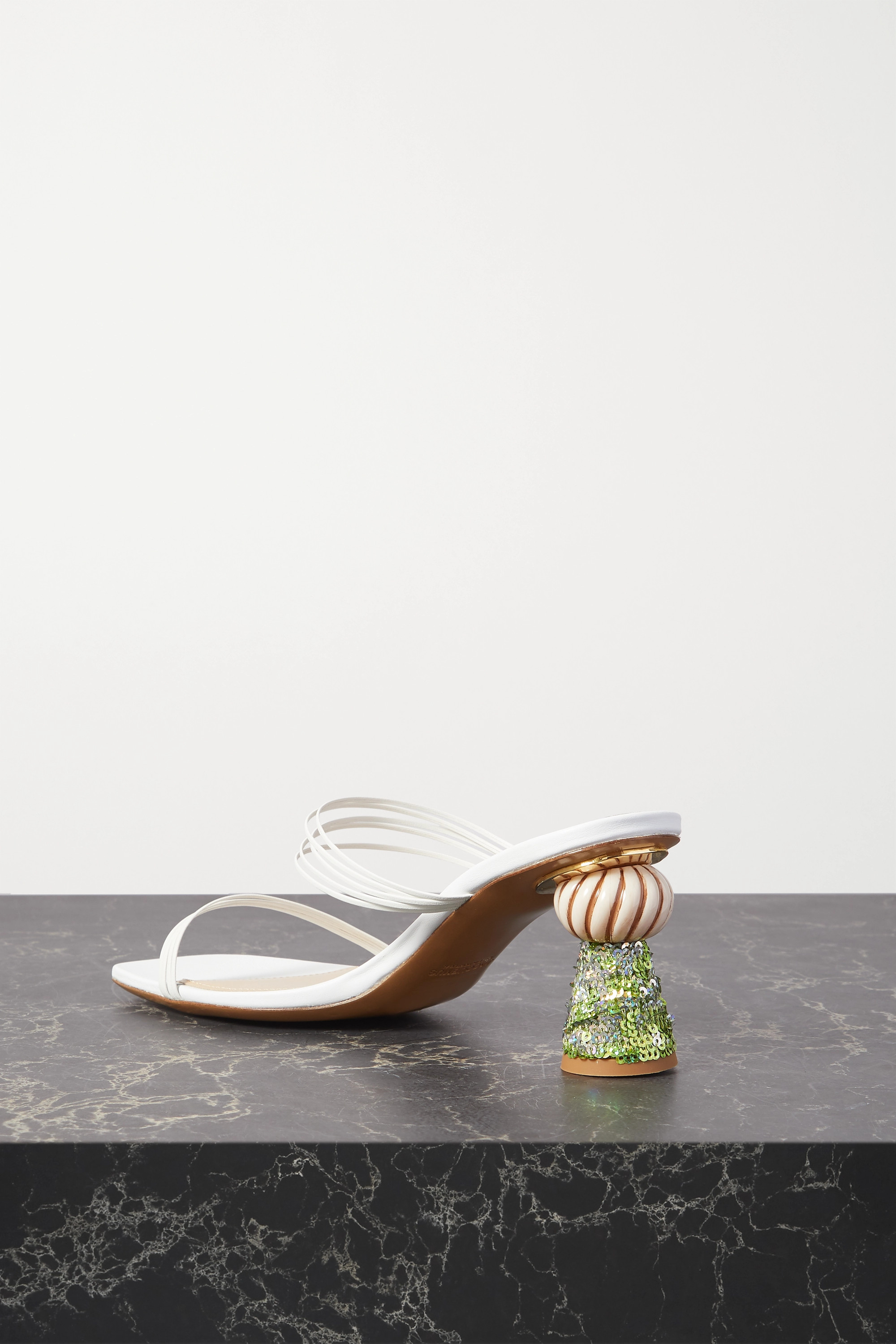 Jacquemus Vallena sequin-embellished leather mules