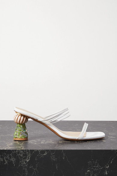 Jacquemus Vallena Sequin-embellished Leather Mules In White