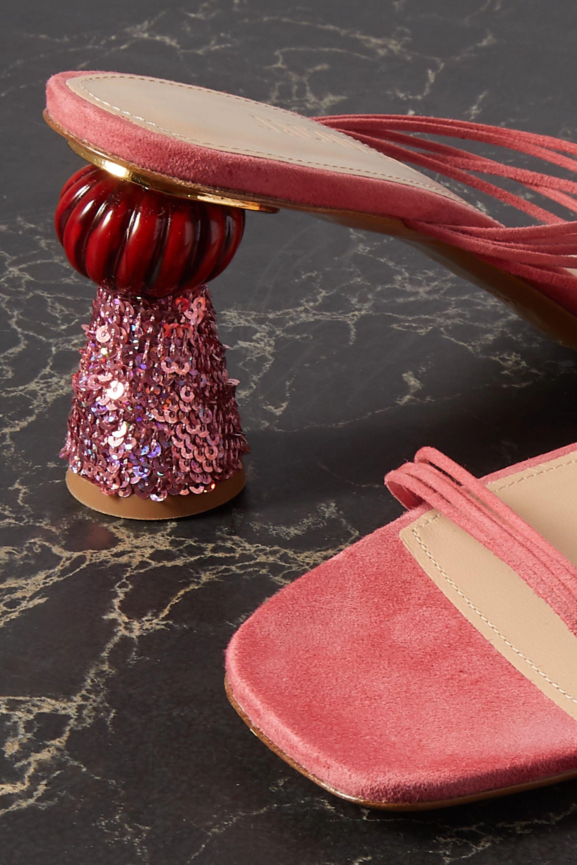 Jacquemus Vallena sequin-embellished suede mules
