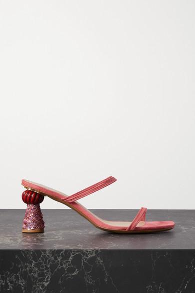 Jacquemus 'les Mules Vallena' Square Toe Sequin Geometric Heeled Sandals In Pink
