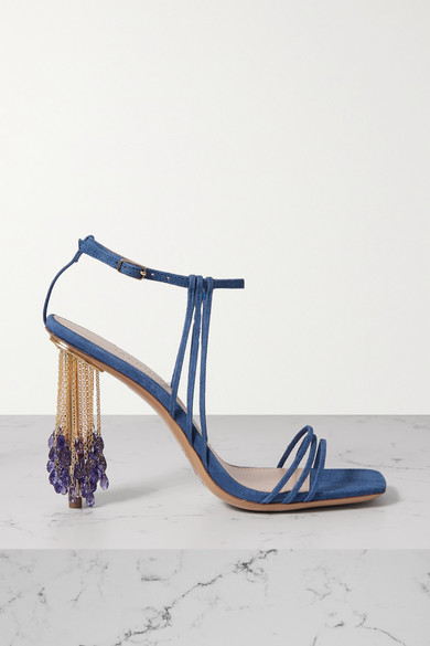 Jacquemus Raphia Embellished Strappy Suede Sandals In Blue