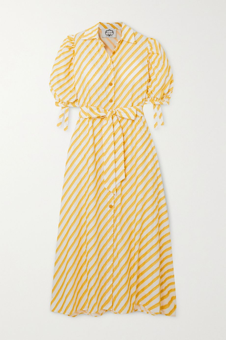 Evi Grintela Iris belted frayed striped cotton-voile maxi dress