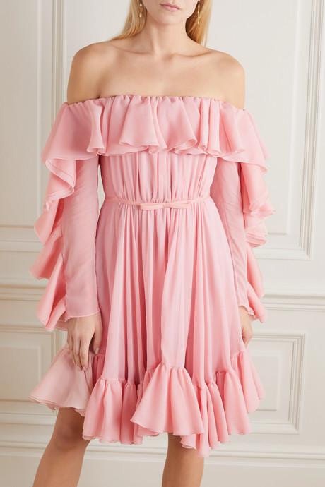 Off-the-shoulder ruffled silk-georgette dress