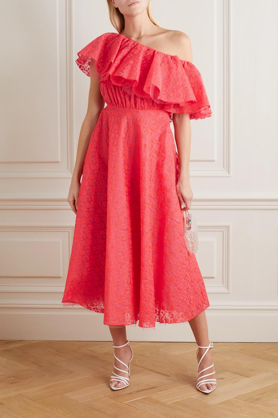 Giambattista Valli Ruffled one-shoulder embroidered silk-organza midi dress