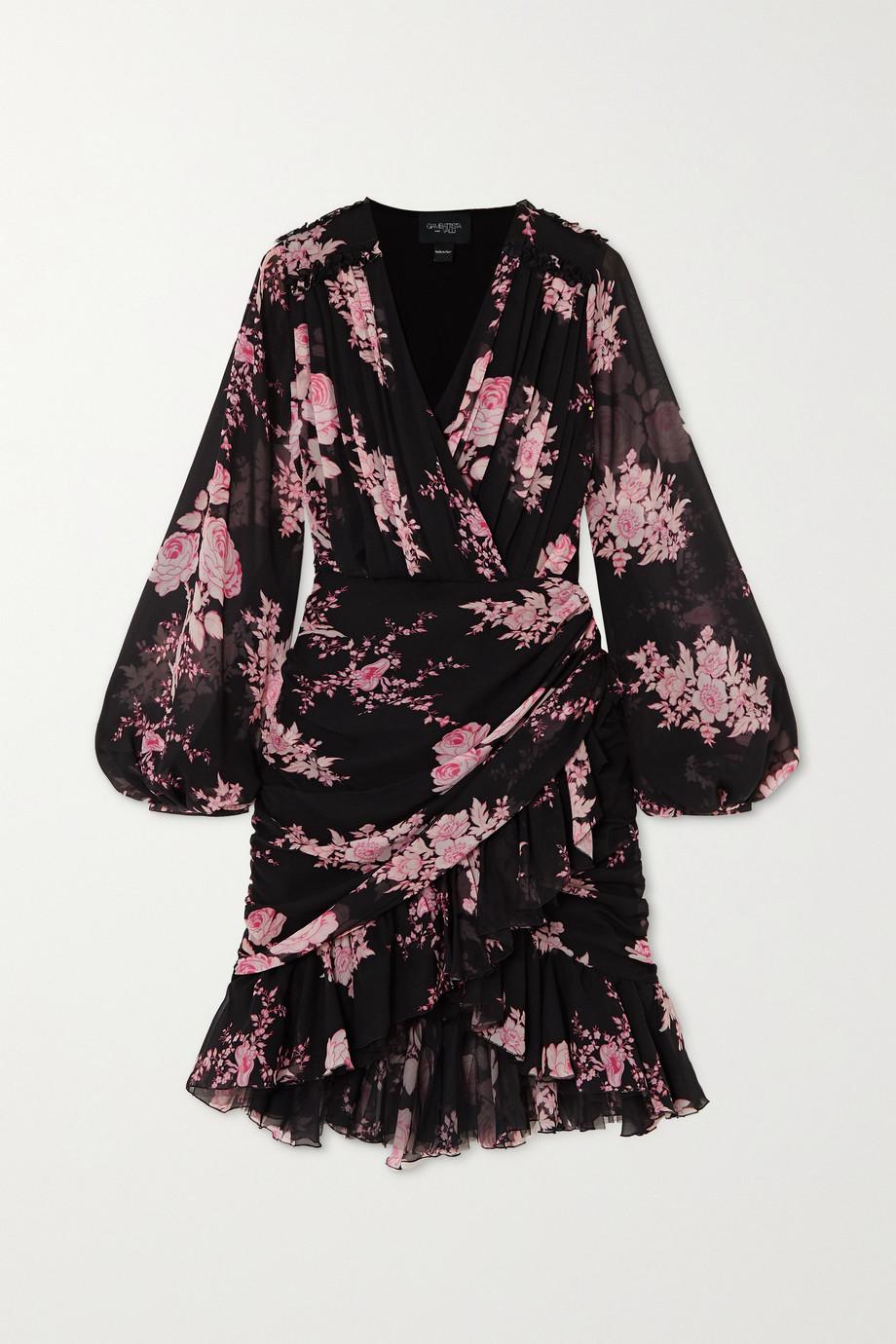 Giambattista Valli Wrap-effect ruffled floral-print silk-georgette mini dress