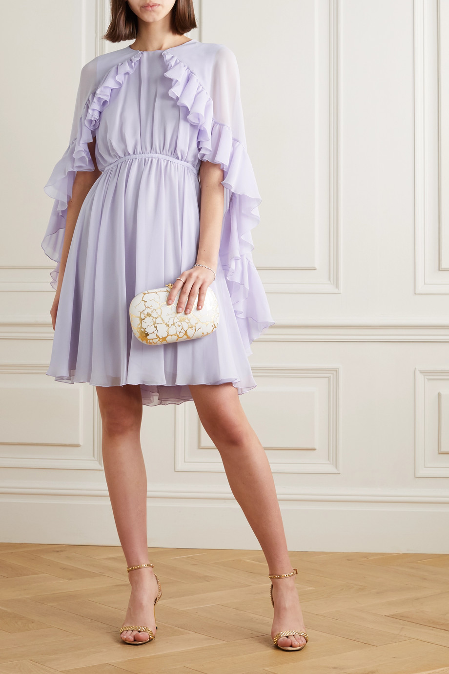 Giambattista Valli Cape-effect ruffled silk-georgette mini dress