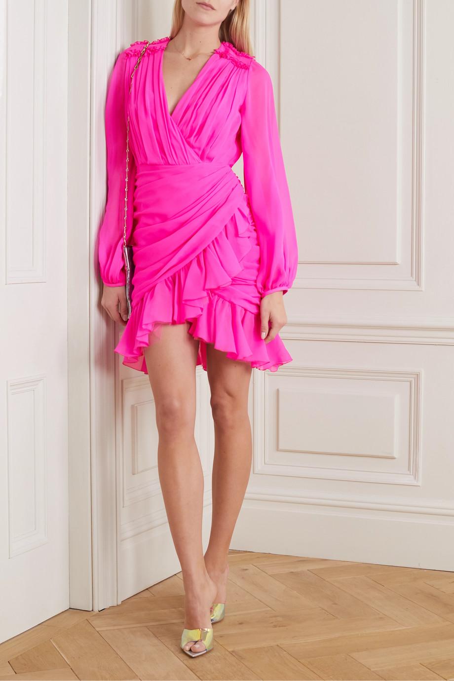 Giambattista Valli Wrap-effect ruffled silk-georgette mini dress