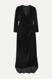 Olivia von Halle + Maleficent Shillingford velvet wrap maxi dress
