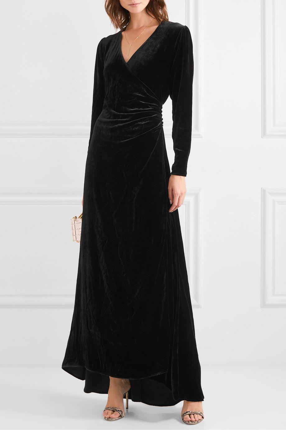 "Olivia von Halle x Maleficent ""Shillingford"" 天鹅绒超长裹身连衣裙"