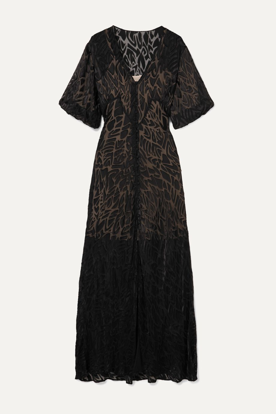 """Olivia von Halle x Maleficent """"Delphine"""" 烧花雪纺绸超长连衣裙"""