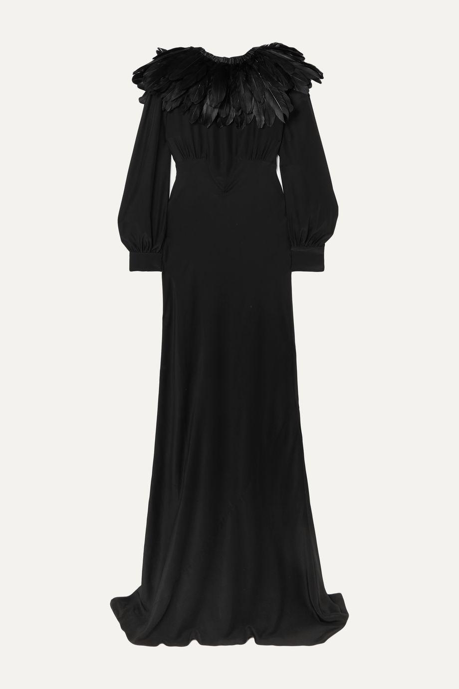 """Olivia von Halle x Maleficent """"Angelina"""" 人造羽毛边饰真丝双绉礼服"""