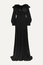 Olivia von Halle + Maleficent Angelina faux feather-trimmed silk crepe de chine gown