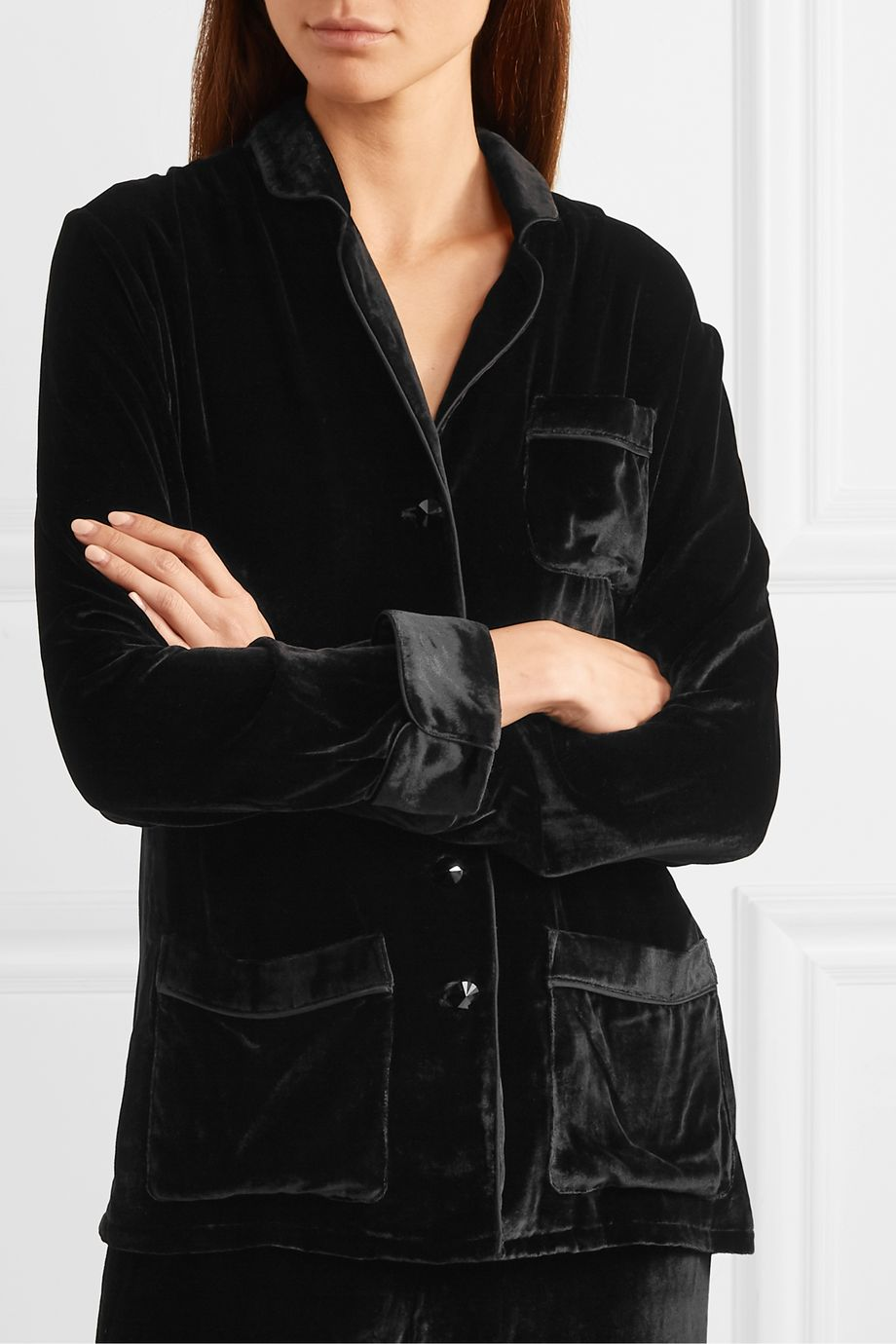 Olivia von Halle + Maleficent Coco sequin-embellished embroidered velvet pajama set