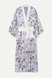 Olivia von Halle + Maleficent Queenie floral-print silk-satin robe