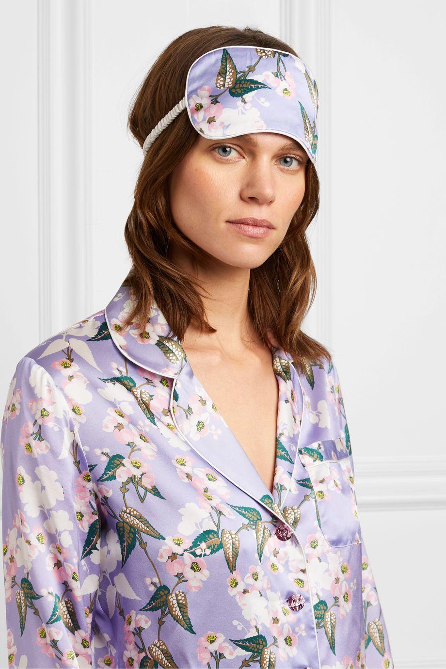 Olivia von Halle + Maleficent reversible floral-print silk-satin eye mask