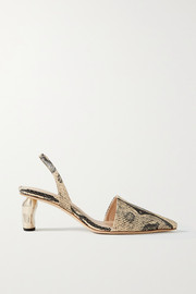 REJINA PYO Conie snake-effect leather pumps
