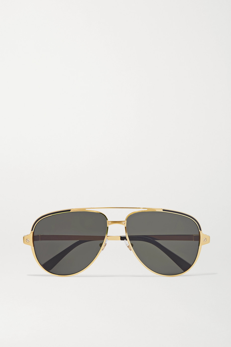 Cartier Eyewear Santos aviator-style gold-tone and acetate sunglasses