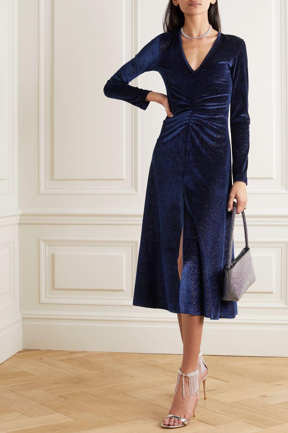 ROTATE Birger Christensen Ruched glittered velvet midi dress