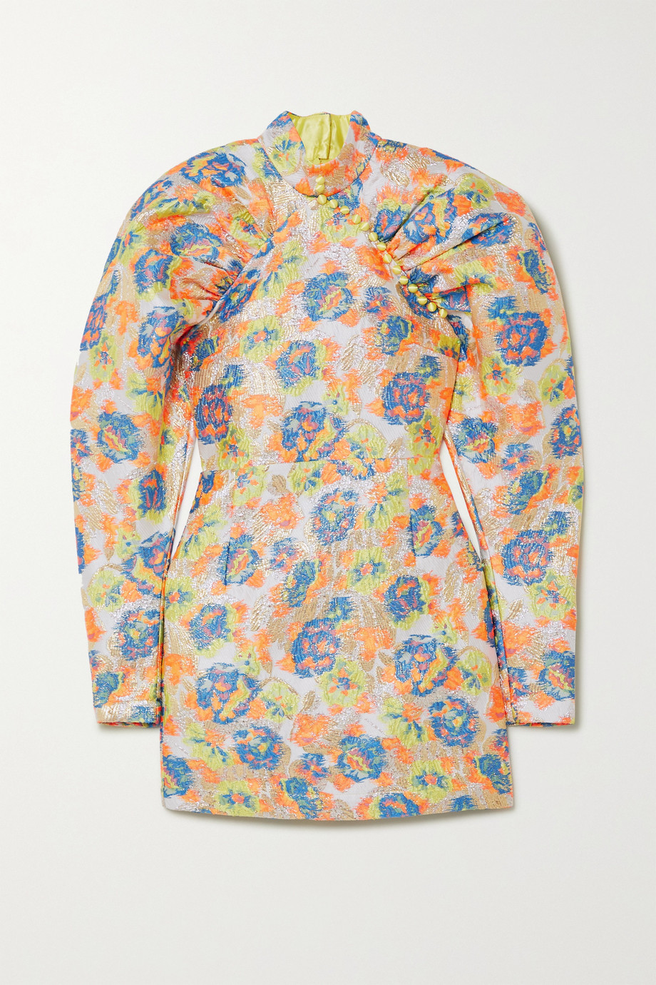 ROTATE Birger Christensen Kim button-detailed metallic floral-jacquard mini dress