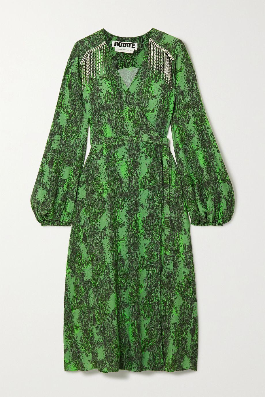 ROTATE Birger Christensen Kira crystal-embellished snake-print crepe wrap dress