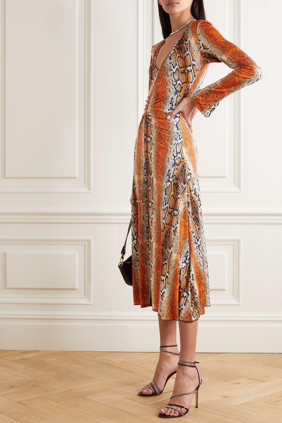 ROTATE Birger Christensen Ruched snake-print stretch-jersey midi dress