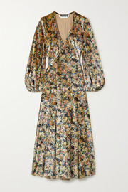 ROTATE Birger Christensen Beatrix floral-print stretch-velvet wrap midi dress