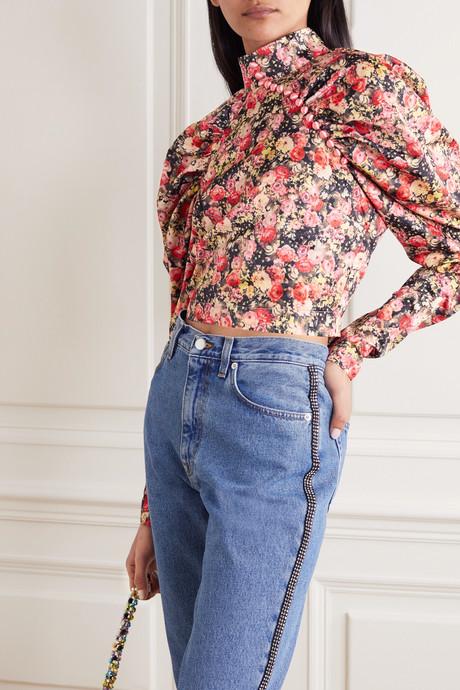 Kim cropped floral-print woven top