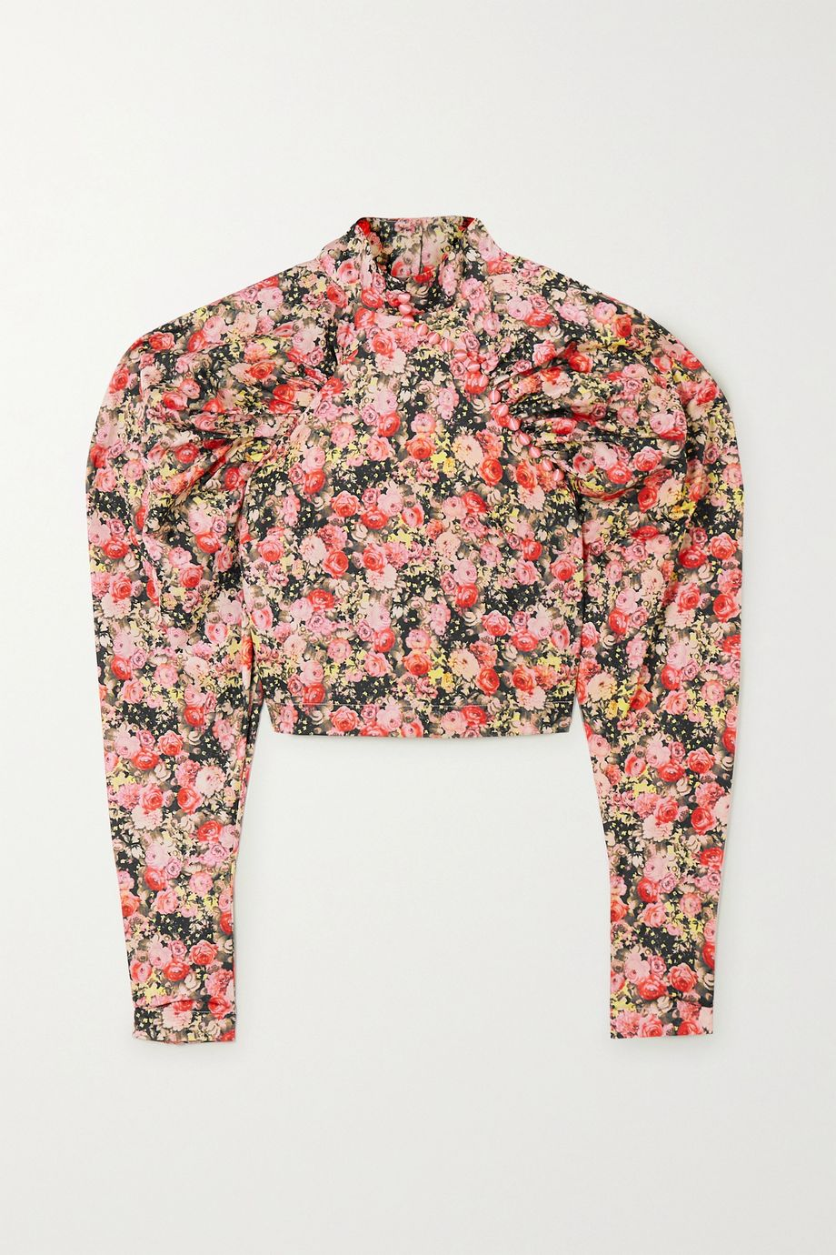 ROTATE Birger Christensen Kim cropped floral-print woven top