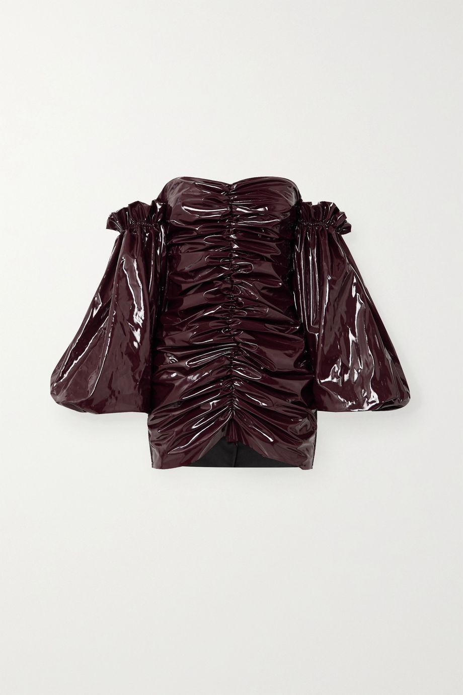 ROTATE Birger Christensen Phoebe off-the-shoulder ruched vinyl mini dress