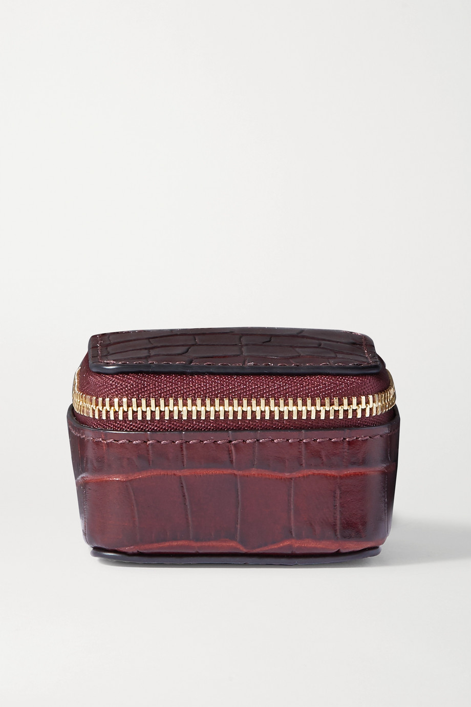 Smythson Mara glossed croc-effect leather pouch