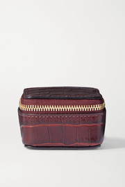 Mara glossed croc-effect leather pouch
