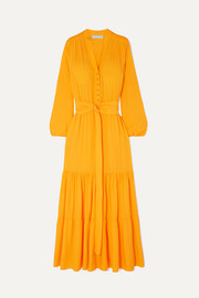 Sonja belted crepe de chine maxi dress