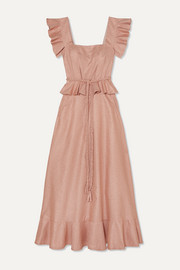 Anna Mason Goldie ruffled metallic crepe maxi dress