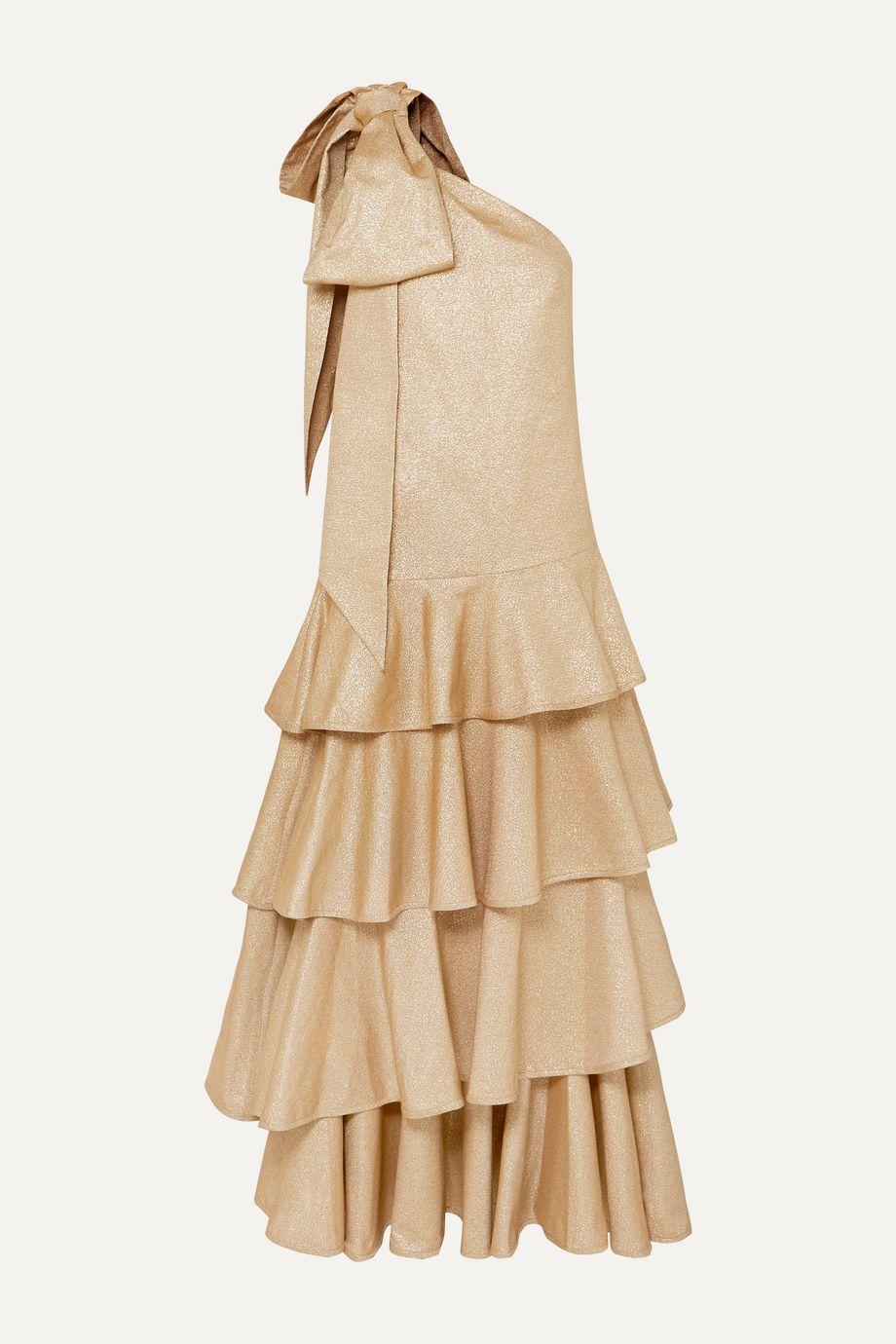 Anna Mason Nancy one-shoulder bow-embellished tiered metallic crepe maxi dress