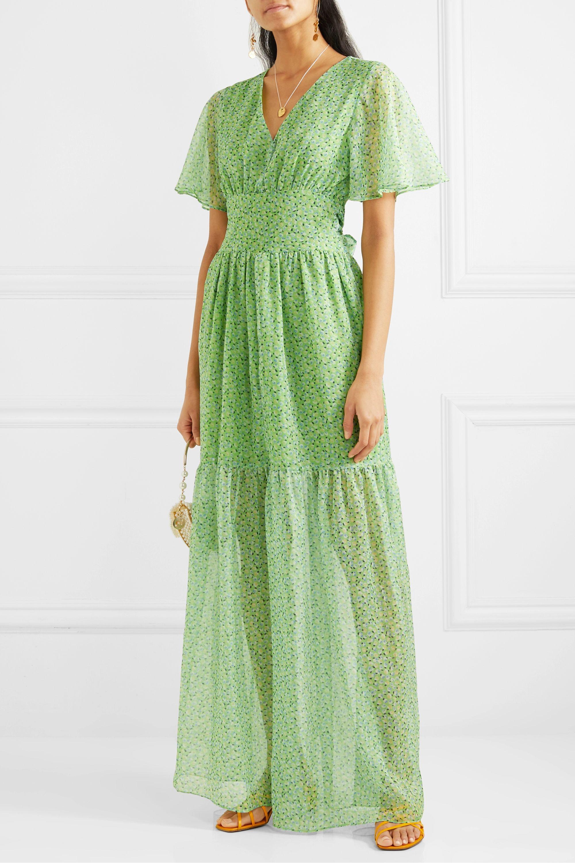 Vert Robe longue en mousseline à imprimé