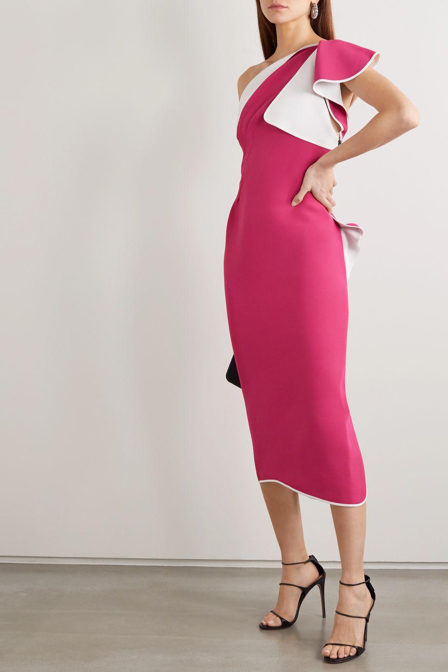 Maticevski Atomised one-shoulder draped cady midi dress