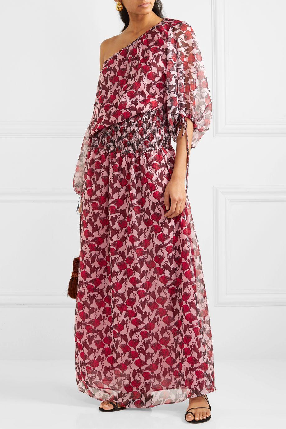 Eywasouls Malibu Evelyn shirred floral-print chiffon maxi dress
