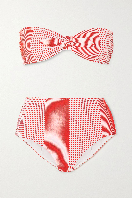 LemLem Semira stretch-jacquard bandeau bikini top