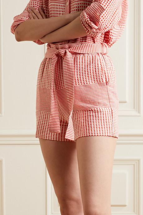 Semira belted cotton-gauze shorts
