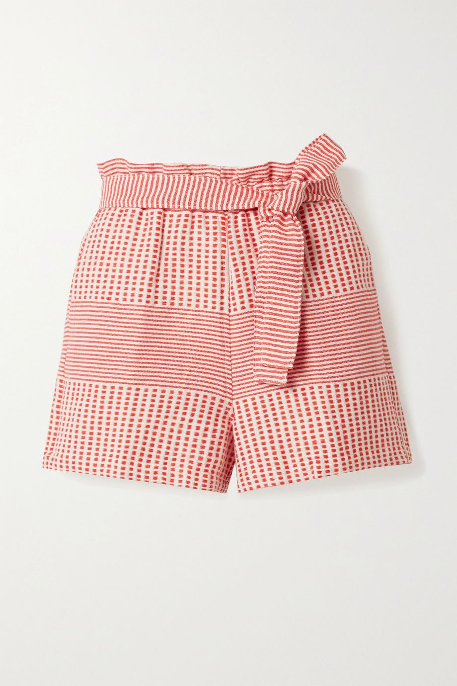 LemLem Semira belted cotton-gauze shorts