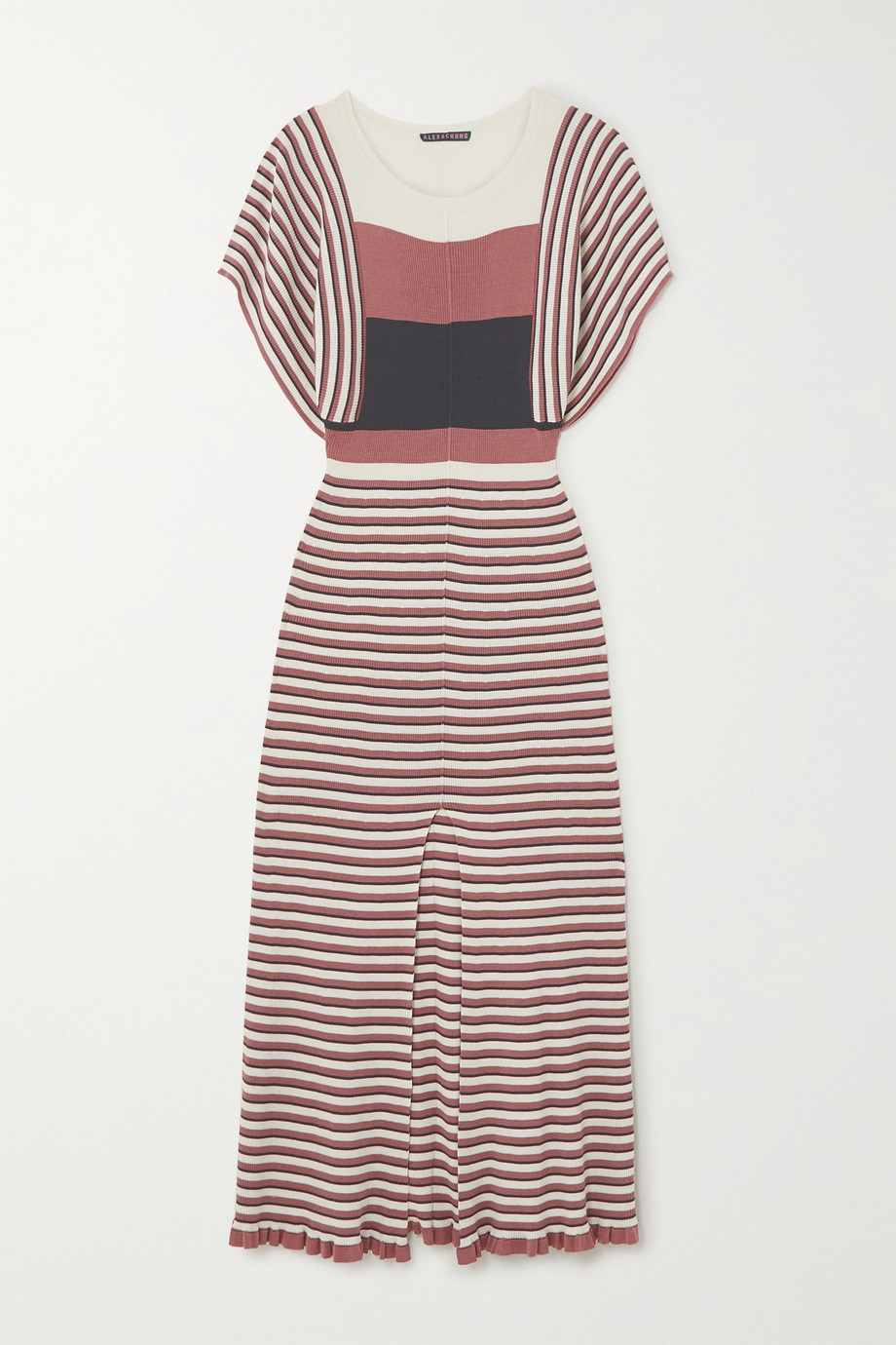 ALEXACHUNG Striped ribbed silk and cotton-blend midi dress