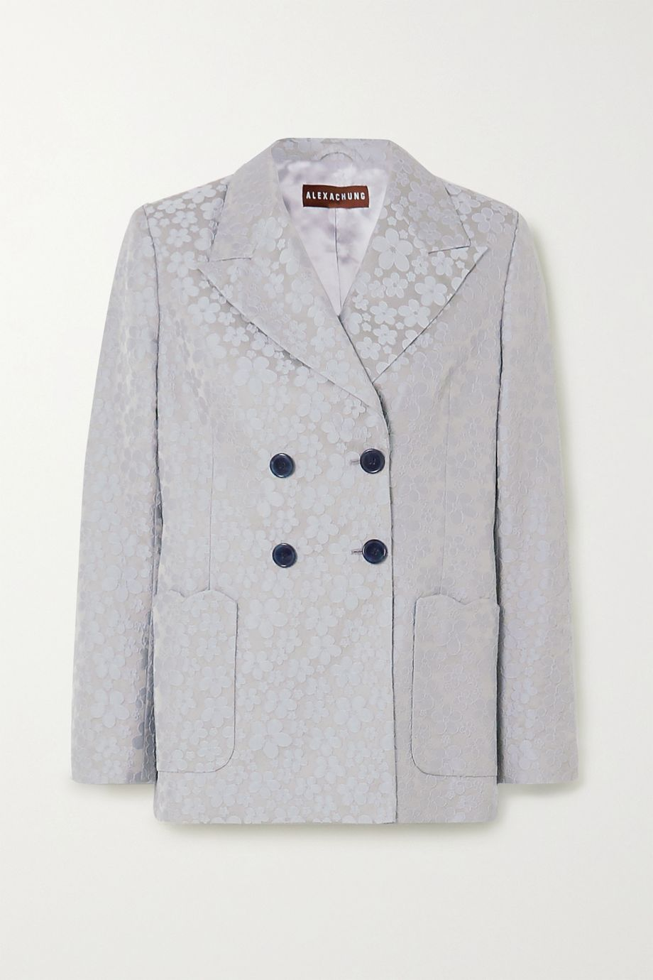 ALEXACHUNG Double-breasted embroidered woven blazer
