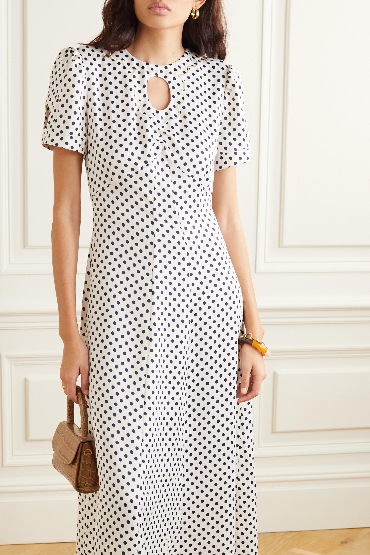 ALEXACHUNG Cutout embroidered polka-dot crepe maxi dress