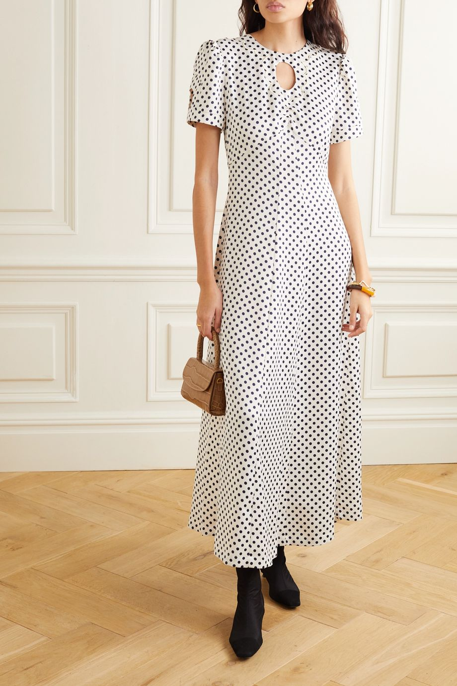ALEXACHUNG Cutout embroidered polka-dot crepe maxi dress