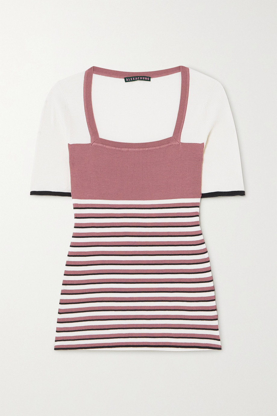 ALEXACHUNG Striped ribbed silk and cotton-blend top