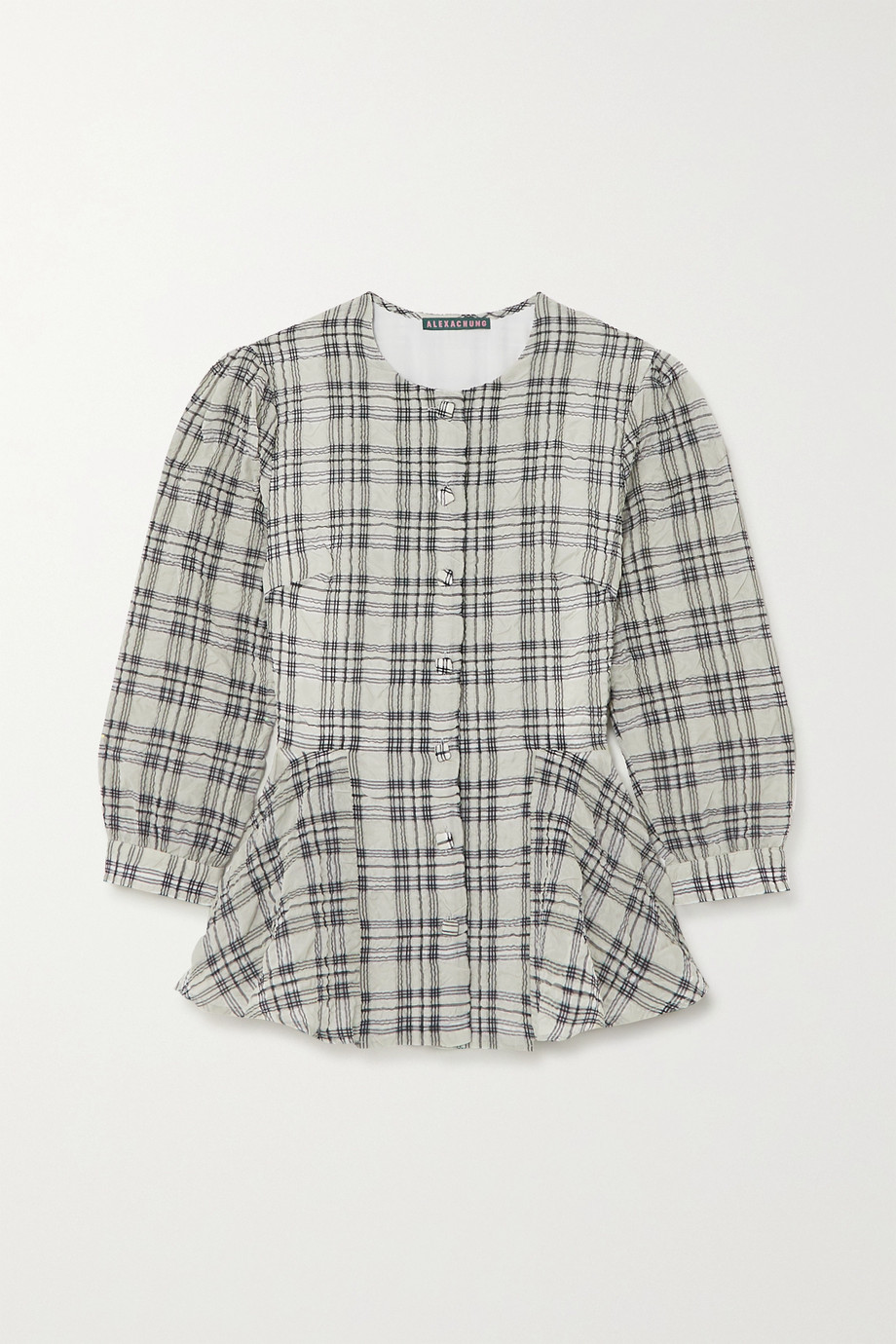 ALEXACHUNG Checked seersucker peplum blouse
