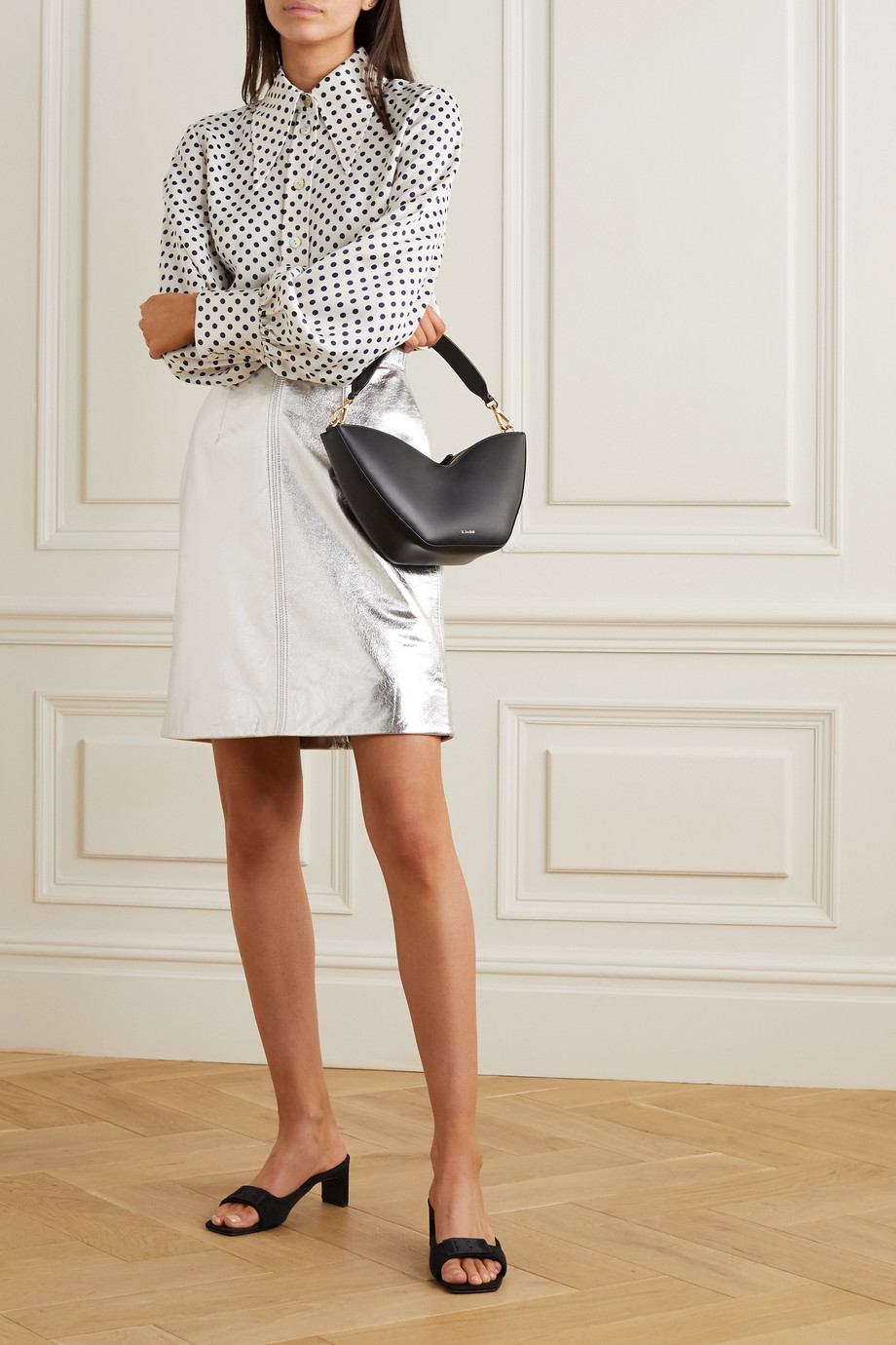 ALEXACHUNG Metallic cracked-leather midi skirt